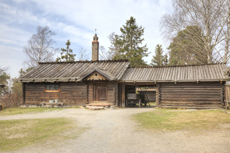 STOCKHOLM, SWEDEN - May 04.2013: Ethnographic complex the open air museum Skansen, located on Djurgarden Island in Stockholm. Dwelling-house and barn