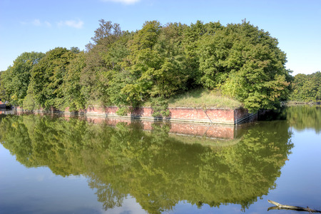 Old German fort from World War II on an artificial island in the town of Baltiysk