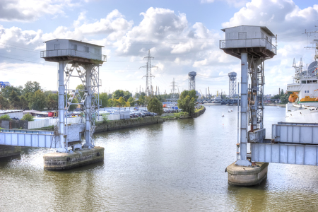 navigable: Kaliningrad. Old balance-bridge for the passage of ships with large dimensions on the Pregolya River