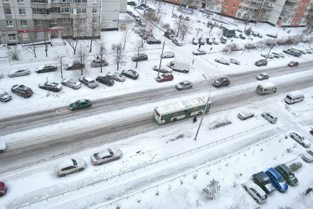 skidding: MOSCOW, RUSSIA - November 12.2016: Snow-covered streets of Moscow after a night snowstorm