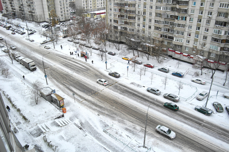roadside stand: MOSCOW, RUSSIA - November 12.2016: Snow-covered streets of Moscow after a night snowstorm