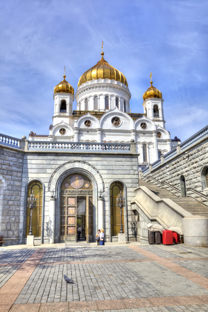 rebuilt: MOSCOW, RUSSIA - May 02.2016: Service entrance from the side of the embankment river Moskva in Cathedral of Christ the Saviour