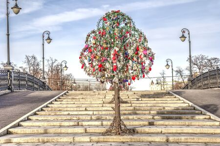 MOSCOW, RUSSIA - November 11.2016: Tree of newlyweds on Luzhkov bridge through the Vodootvodny Canal