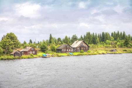 onega: Dwelling-houses of fishermen ashore of Lake Onega