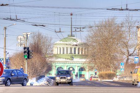 MURMANSK, RUSSIA - March 26.2009: Railway station and Vorovskogo street Editorial