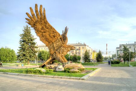 ORYOL, RUSSIA - May 15.2012: Enormous sculpture of eagle at the town square