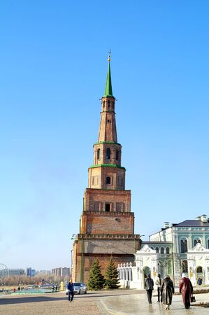 KAZAN, RUSSIA - April 18.2010: The famous leaning tower Syuyumbike on the territory of the Kazan Kremlin