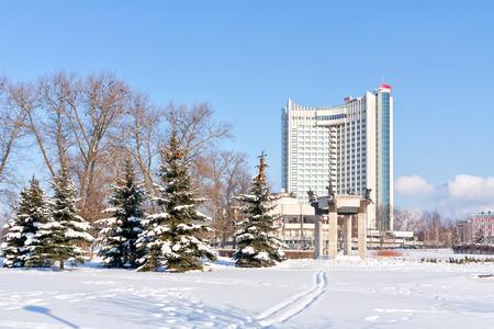frostily: MINSK, REPUBLIC OF BELARUS - January 18.2017: Visiting-card of city, known municipal hotel Belarus