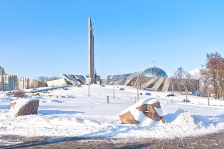 stele: MINSK, REPUBLIC OF BELARUS - January 18.2017: Belarusian Great Patriotic War Museum and obelisk Minsk - Hero-City on boulevard of Winners