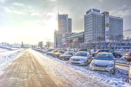 frostily: MINSK, REPUBLIC OF BELARUS - January 16.2017: Winter cityscape. Modern office buildings on boulevard of Winners in the city center