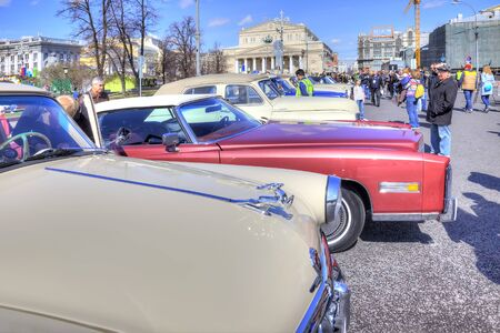 RUSSIA, MOSCOW - April 24.2016: Rare ancient cars on the Theatre Square in the center of city