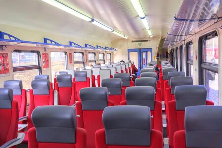 inwardly: RUSSIA, MOSCOW - March 24.2015: Comfortable spacious salon of modern high-speed train Aeroexpress