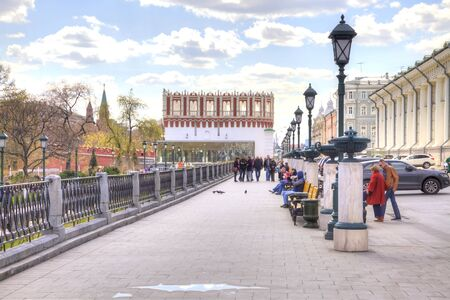 passerby: MOSCOW, RUSSIA - April 24.2016: Old Manezhnaya street in the historical center of city Editorial