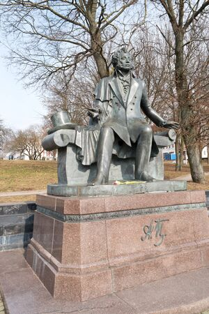 pushkin: BELORUSSIA, MINSK - March 11.2017: Monument to the known Russian poet А.С. To Pushkin in a municipal park Editorial