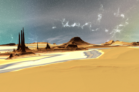 Landscape of stranger planet. 3D illustration
