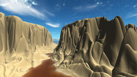 Landscape of stranger planet. 3D illustration Imagens - 81856742