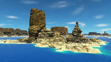Landscape of stranger planet. 3D illustration