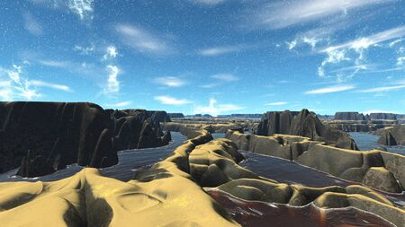lough: Landscape of stranger planet. 3D illustration