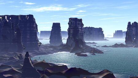 Mountain and lake. Landscape of stranger planet. 3D illustration Imagens