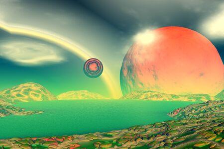 Mountain and lake. Landscape of stranger planet. 3D illustration Stock Photo