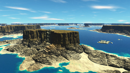 Mountain and lake. Landscape of stranger planet. 3D illustration Stock Photo