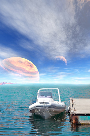 Collage. Mooring on the sea of another planet Stock Photo