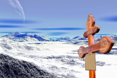 Collage. Cross on the grave of a researcher of someone elses planet