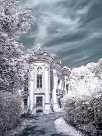 MOSCOW, RUSSIA - July 15.2011: Kuskovo. An ancient palace complex and the park of Count Sheremetyev. Infrared photography