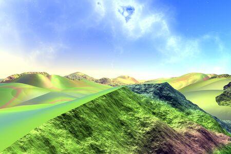 Landscape of stranger planet. Moon. 3D illustration