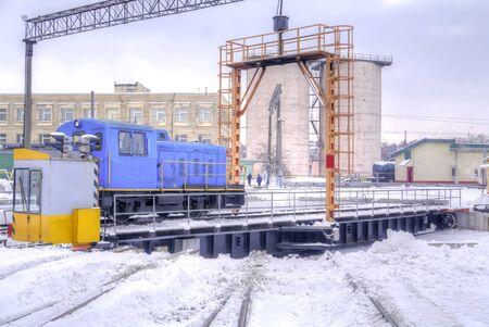 Turntable in a railway locomotive depot Minsk, Belarus. Stock Photo - 92704624
