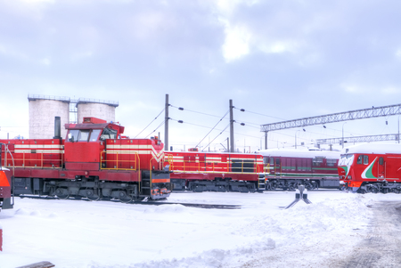 MINSK, BELARUS - January 18.2017: Parking of locomotives in anticipation of routine maintenance Editorial