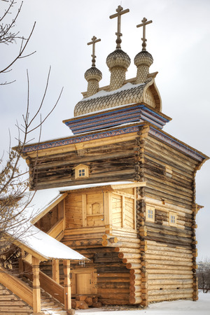 MOSCOW, RUSSIA — March 07.2011: Museum of Wooden Architecture, Kolomenskoye. St George the Victorious Church, 1685. Snowfall Editorial
