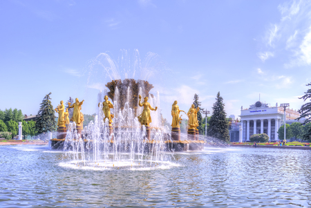 MOSCOW, RUSSIA - May 28.2014: Exhibition of Achievements of the Peoples Economy (VDNKh). Famous fountain on territory of exhibition complex with the figures of girls of different nationality
