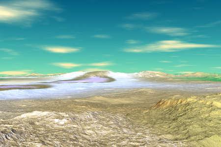 Fantasy alien planet. Desert. 3D illustration