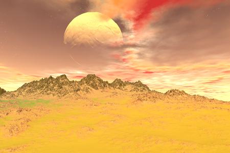 Fantasy alien planet. Rocks and sky. 3D illustration