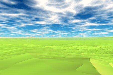 The alien planet. Green desert under a blue sky. 3D illustration   Stock Photo