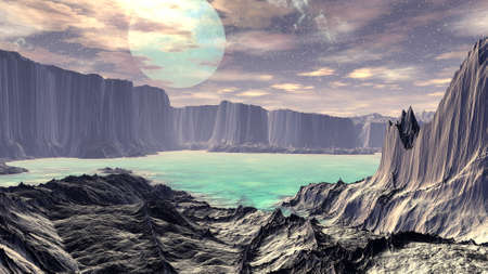 Fantasy alien planet. Mountain and water. 3D illustration Stock Photo