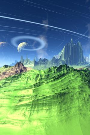 Fantasy alien planet. Mountain. 3D illustration Stock Photo
