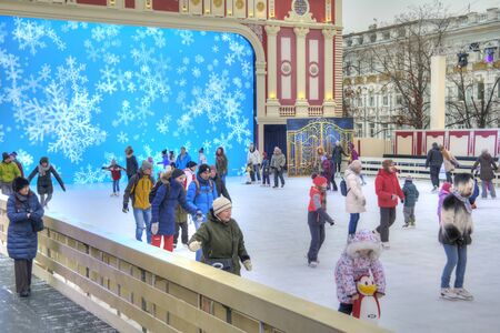 MOSCOW, RUSSIA - January 13.2018: Novopushkinsky Square. Ice skating rink and Ice theater Journey to Christmas