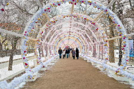 MOSCOW, RUSSIA - January 13.2018: Light tunnel on Tverskoy Boulevard. A Christmas tunnel with colorful glowing lights Editorial