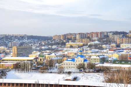 SMOLENSK, RUSSIA - March 08.2018: Panorama of the city from the height of the cathedral mount. Chapel and the Church of St. Nicholas
