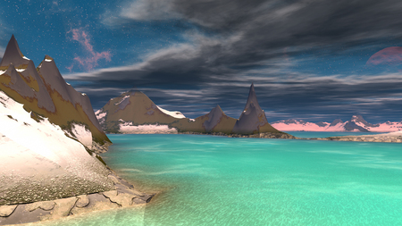 Fantasy alien planet. Mountain and water. 3D illustration Imagens