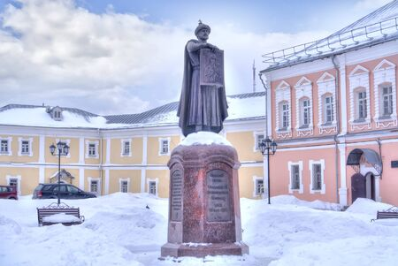 SMOLENSK, RUSSIA - March 08.2018: Sculpture to Vladimir II Monomakh, an outstanding statesman, ranked saints. The monument is located on the territory of the Assumption Cathedral Editorial
