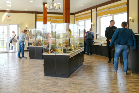 KALININGRAD, RUSSIA - April 29.2018: Interior of a jewelry store on the observation deck of the Primorsky quarry. The village of Yantarny