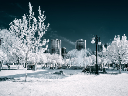 REUTOV, RUSSIA - May 09.2018: Infrared photography. Park in the city of Reutov. Moscow Oblast. Fountain