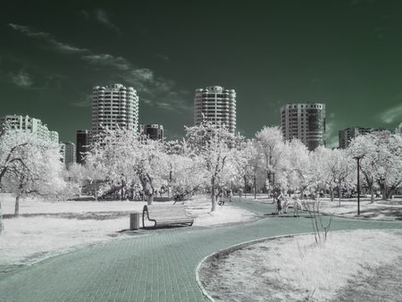 REUTOV, RUSSIA - May 09.2018: Infrared photography. Park in the city of Reutov. Moscow Oblast
