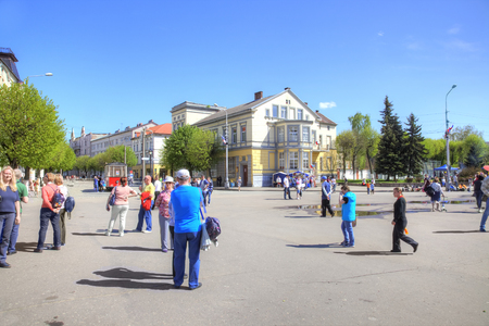 SOVETSK, RUSSIA - May 01.2018: City landscape. Lenin Square in Sovetsk city Редакционное