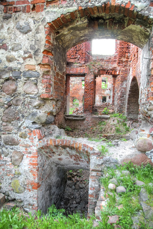 The ruins of the castle of Insterburg, the East Prussian medieval defensive structure. Chernyakhovsk sity Stock fotó