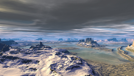 Fantasy alien planet. Mountain and water. 3D illustration 写真素材