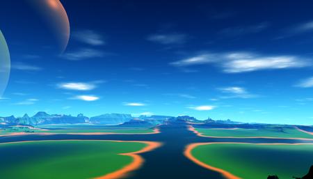 Fantasy alien planet. Mountain. 3D illustration Stockfoto